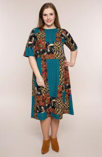 Prosta sukienka afrykański kolaż