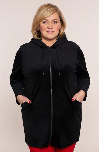 Czarna bluza z weluru z suwakiem