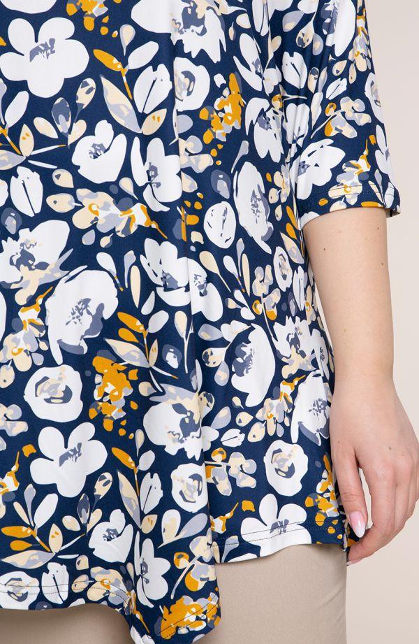Asymetryczna tunika miodowe kwiaty