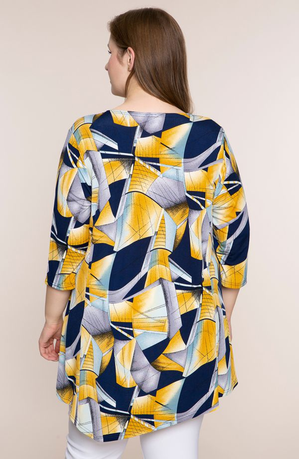 Asymetryczna tunika żółta abstrakcja
