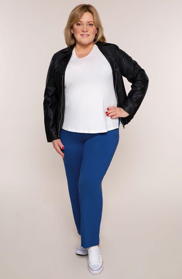 Klasyczne cienkie chabrowe spodnieplus size dla puszystych