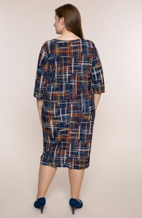 Półdługa sukienka kropkowa geometria