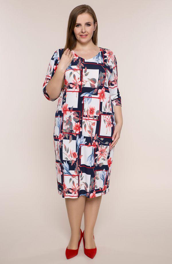 Półdługa sukienka kwiatowe prostokąty