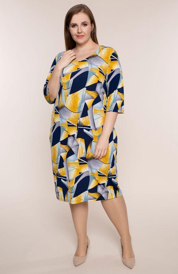 Półdługa sukienka żółta abstrakcja