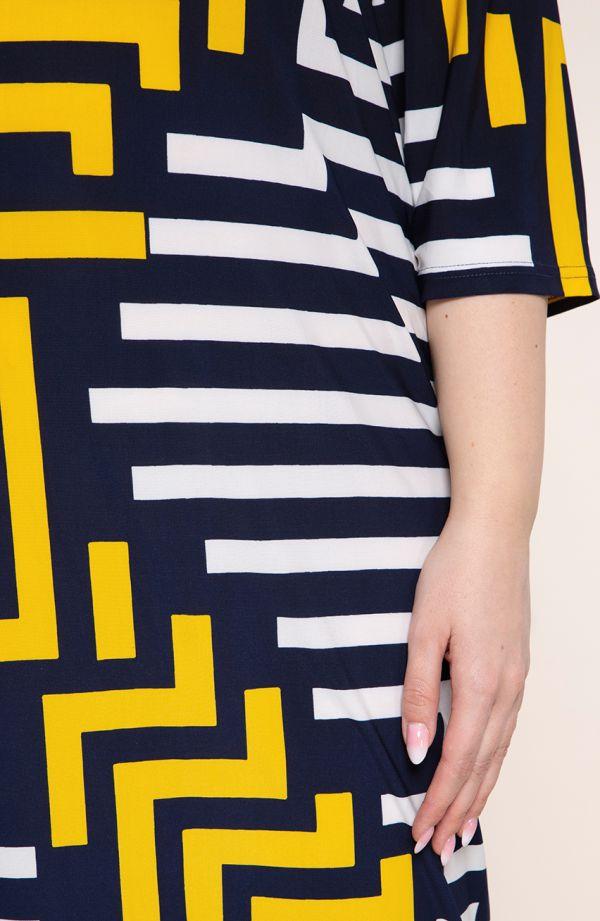 Półdługa sukienka żółta geometria