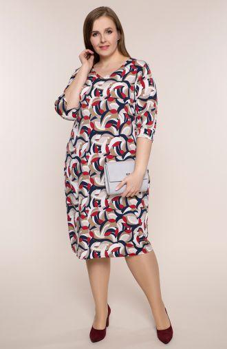 Półdługa sukienka beżowa geometria