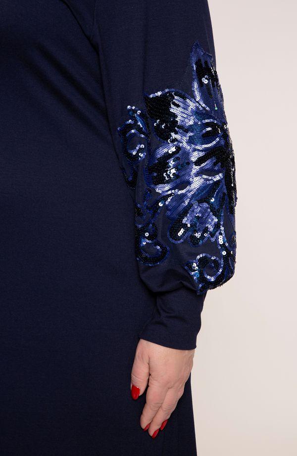 Granatowa sukienka z cekinowym kwiatem