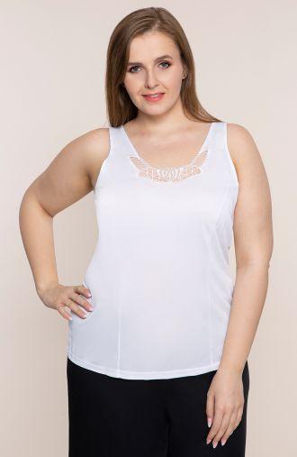 Biała koszulka z koronką Mewa