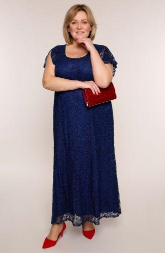 Długa sukienka w kolorze pruskiego błękitu