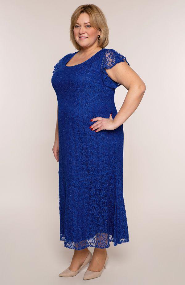 Długa sukienka w chabrowym kolorze
