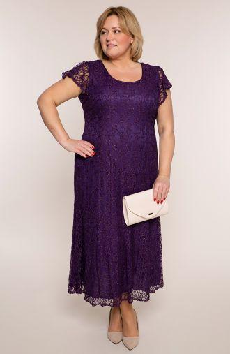 Długa sukienka w bakłażanowym kolorze