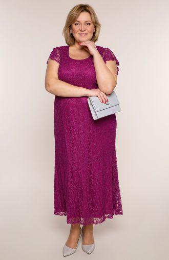 Długa sukienka w jagodowym kolorze