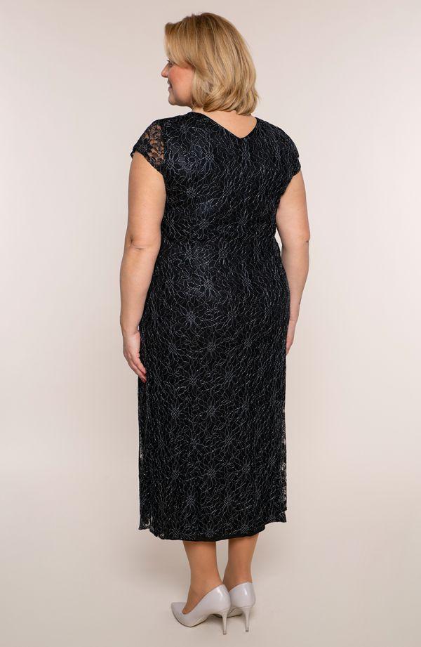 Długa czarna sukienka w posrebrzane kwiaty