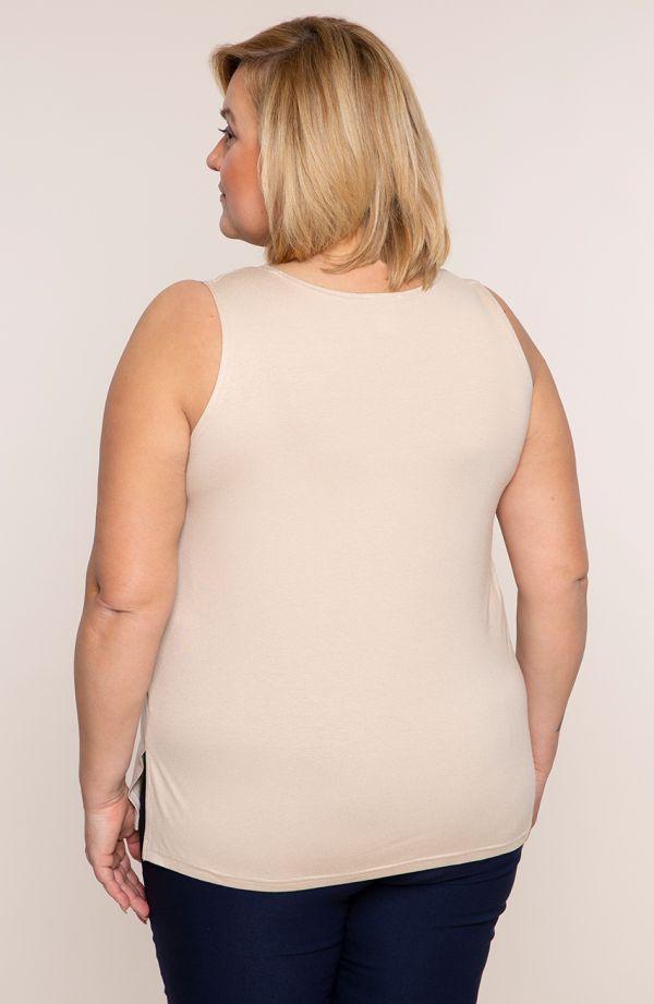 <span>Bluzki damskie duże rozmiary - u</span>niwersalny beżowy top z wiskozy