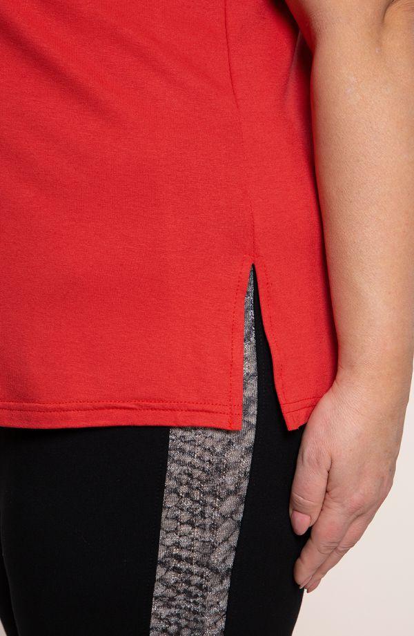 Uniwersalny czerwony top z wiskozy