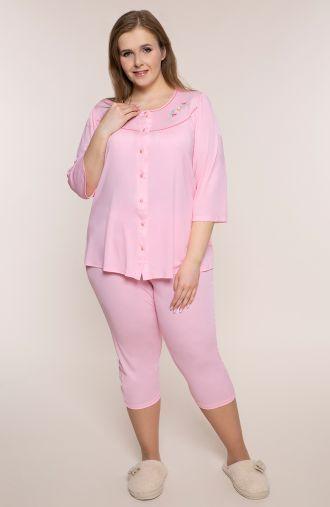 Różowa piżama z haftem przy dekolcie