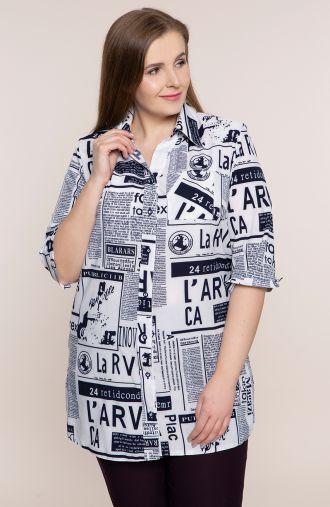 <span>Bluzki plus size - b</span>iała koszula wieczorne wiadomości