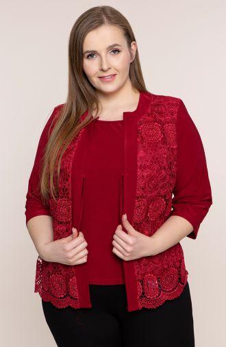 Bluzki plus size - bordowa bluzka z kwiatową gipiurą