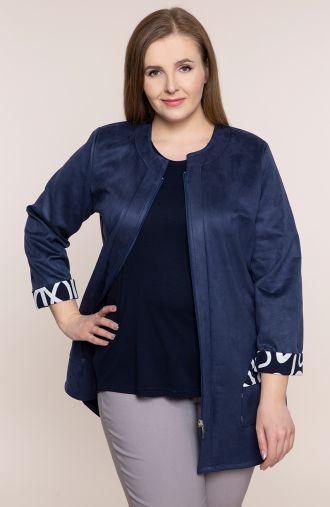 Niebieska zamszowa kurtka przejściowa