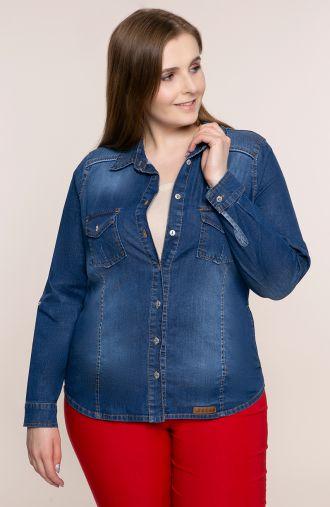 Jeansowa koszula z podwijanymi rękawami<span> - bluzki plus size</span>