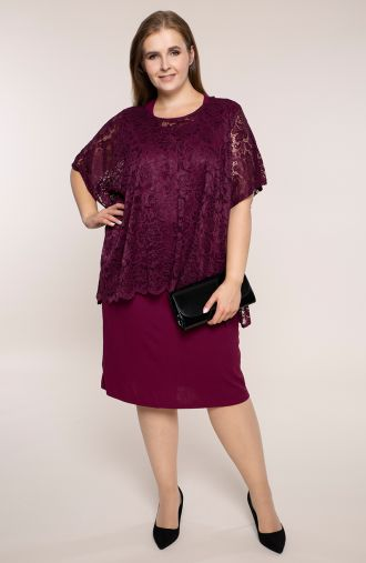 Śliwkowa sukienka z koronkową bluzeczką