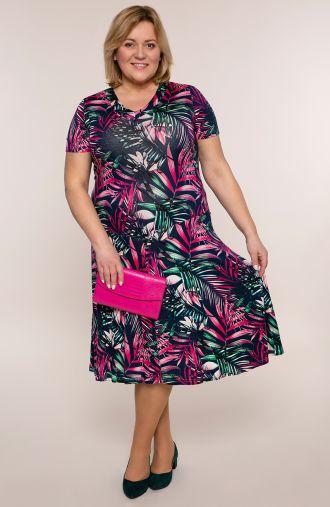 Rozkloszowana sukienka różowe palmy