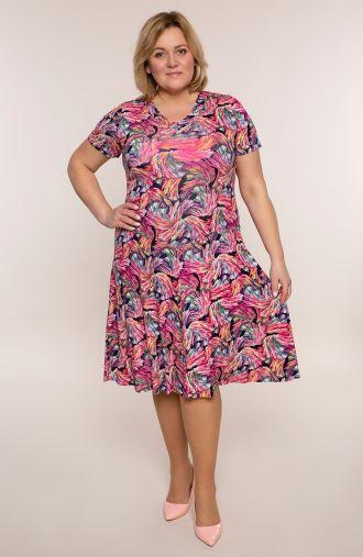 Rozkloszowana sukienka różowe fajerwerki