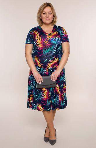 Rozkloszowana sukienka granatowa dżungla