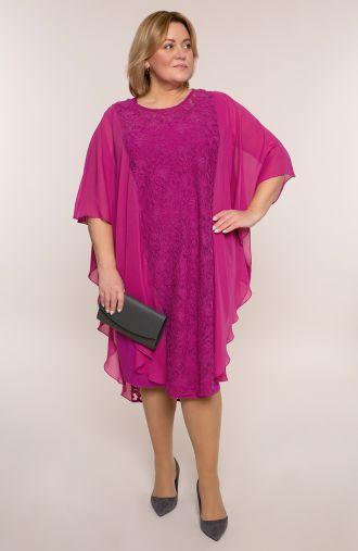 Różowa szyfonowa sukienka z koronką