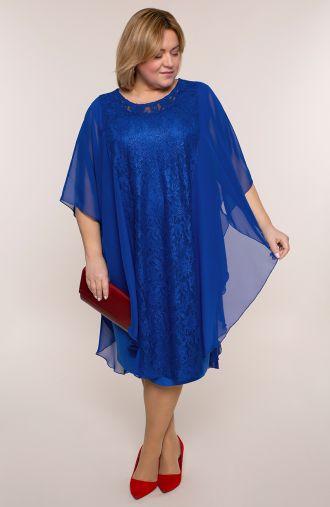 Chabrowa szyfonowa sukienka z koronką