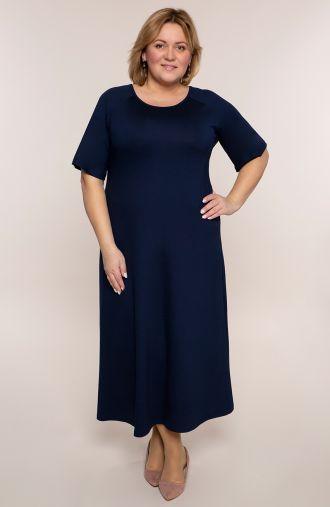 Długa sukienka w ciemno granatowym kolorze