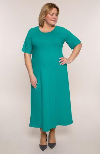 Długa sukienka w grynszpanowym kolorze