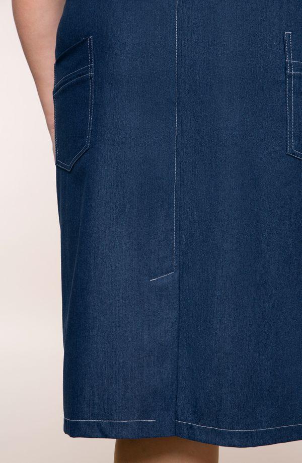 Jeansowa spódnica z białymi przeszyciami