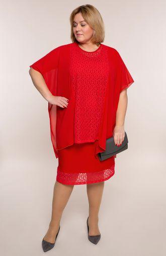 Czerwona szyfonowa sukienka z koronką