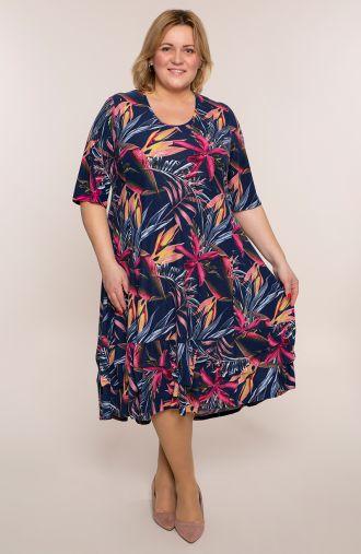 Długa sukienka różowa dżungla