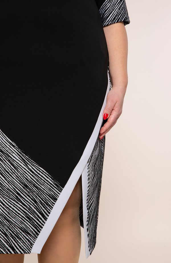 Czarna sukienka srebrna zeberka