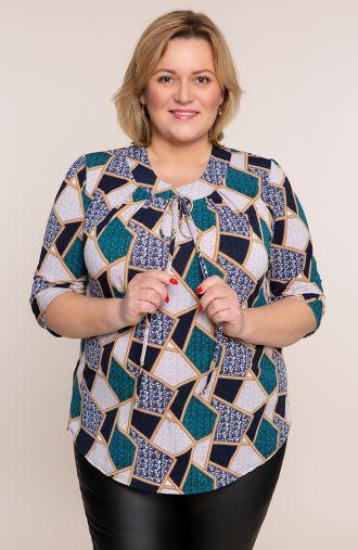 Bluzka turkusowe kafelki z ozdobną klamrą