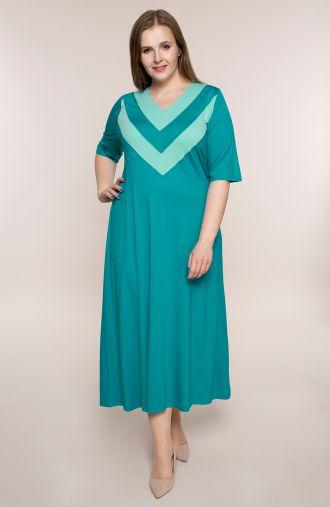 Turkusowa dzianinowa sukienka z dekoltem V