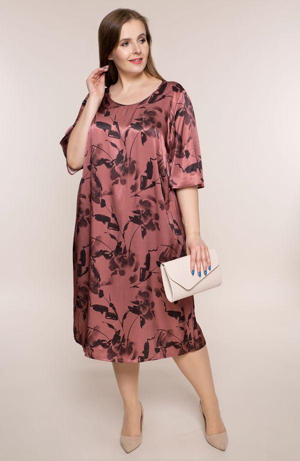 Atłasowa sukienka cieniste róże