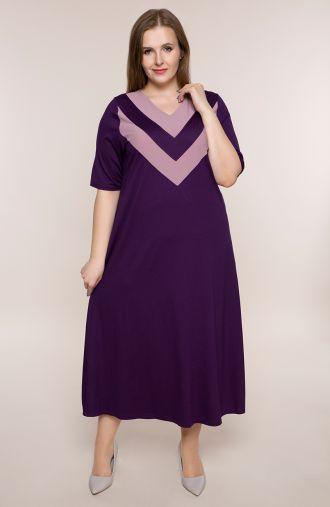 Fioletowa dzianinowa sukienka z dekoltem V