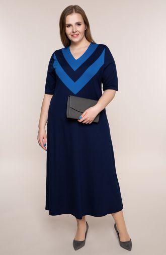 Granatowa dzianinowa sukienka z dekoltem V
