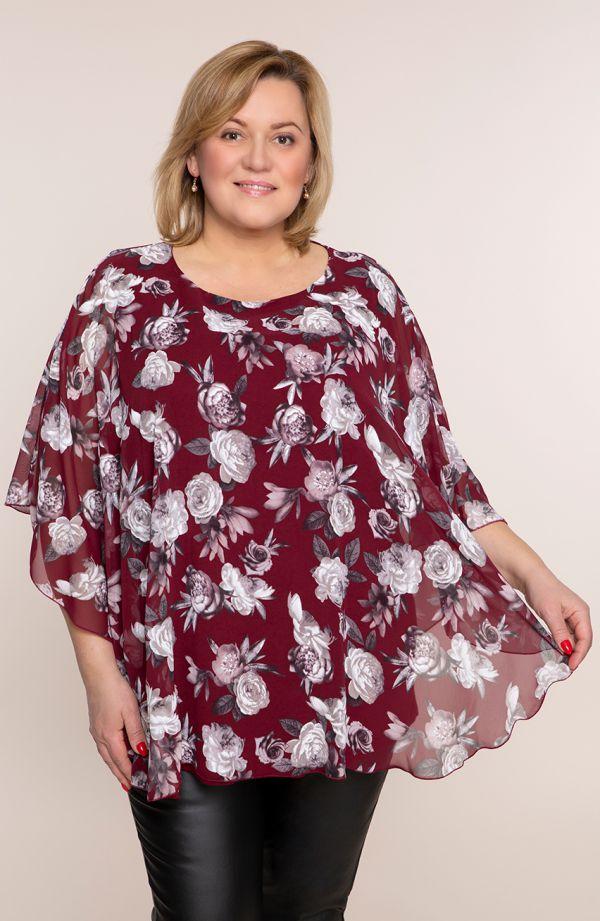 Bordowa bluzka beżowe kwiaty