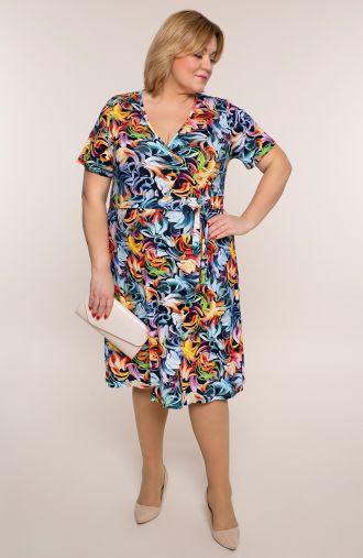 Sukienka z wiązaniem kolorowe płatki