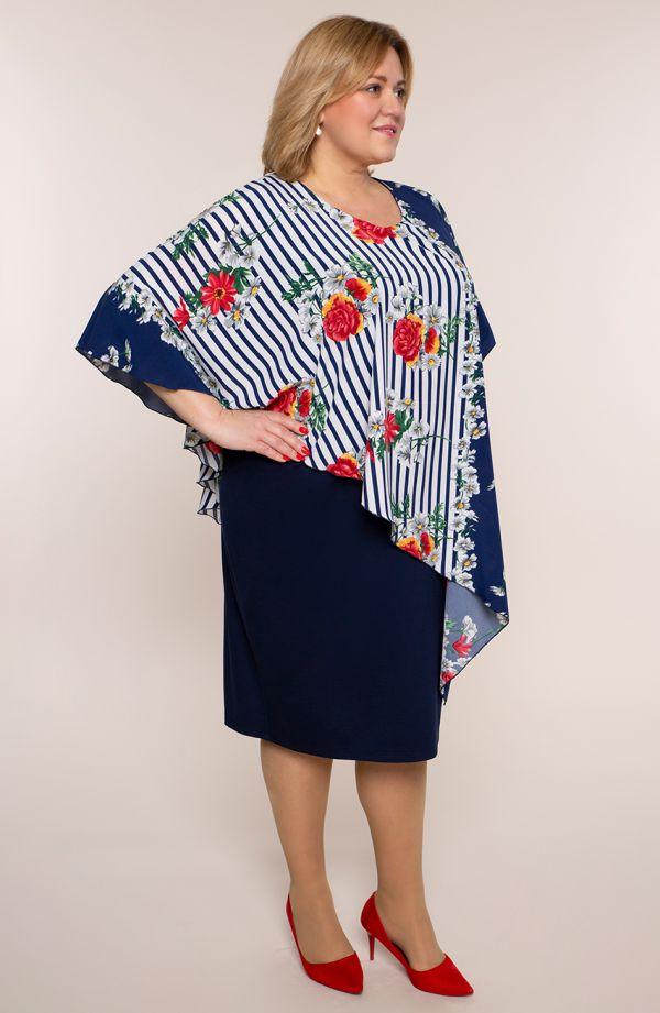 Asymetryczna sukienka pasiaste kwiaty