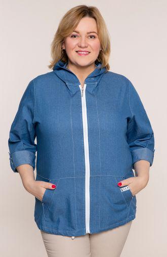 Jeansowa bawełniana bluza z kapturem