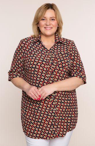 Koszula w musztardowe kropki z kieszonką<span> - odzież plus size</span>