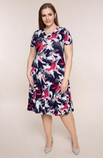 Rozkloszowana sukienka różowa farba