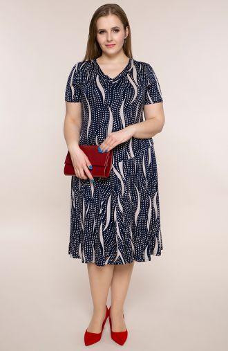 Granatowa rozkloszowana sukienka w groszki