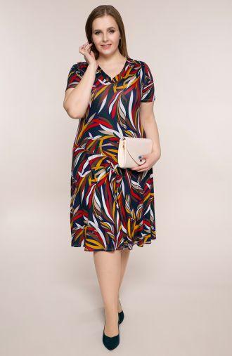 Rozkloszowana sukienka barwne liście