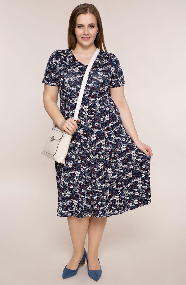 Rozkloszowana sukienka kwiaty malin